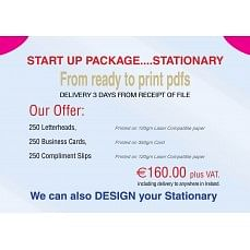 €149 Stationary Startup Package. Was €160 250 Letterheads, Compliment Slips & Business Cards